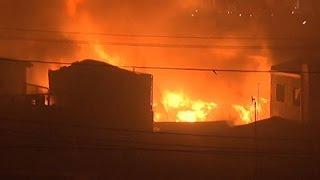 Raw: 400 Shanties Ablaze in Philippine Fire