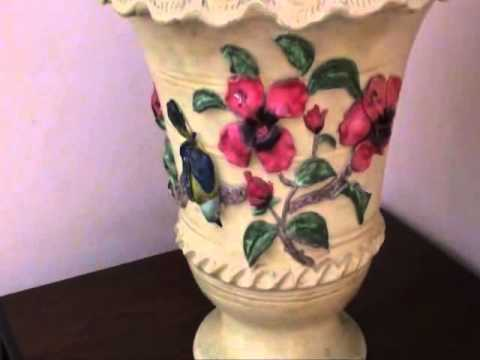 Pot Painting With Clay Flowers Youtube