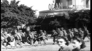 United States troops enter Port of Oran, Algeria and patrol in the city. HD Stock Footage
