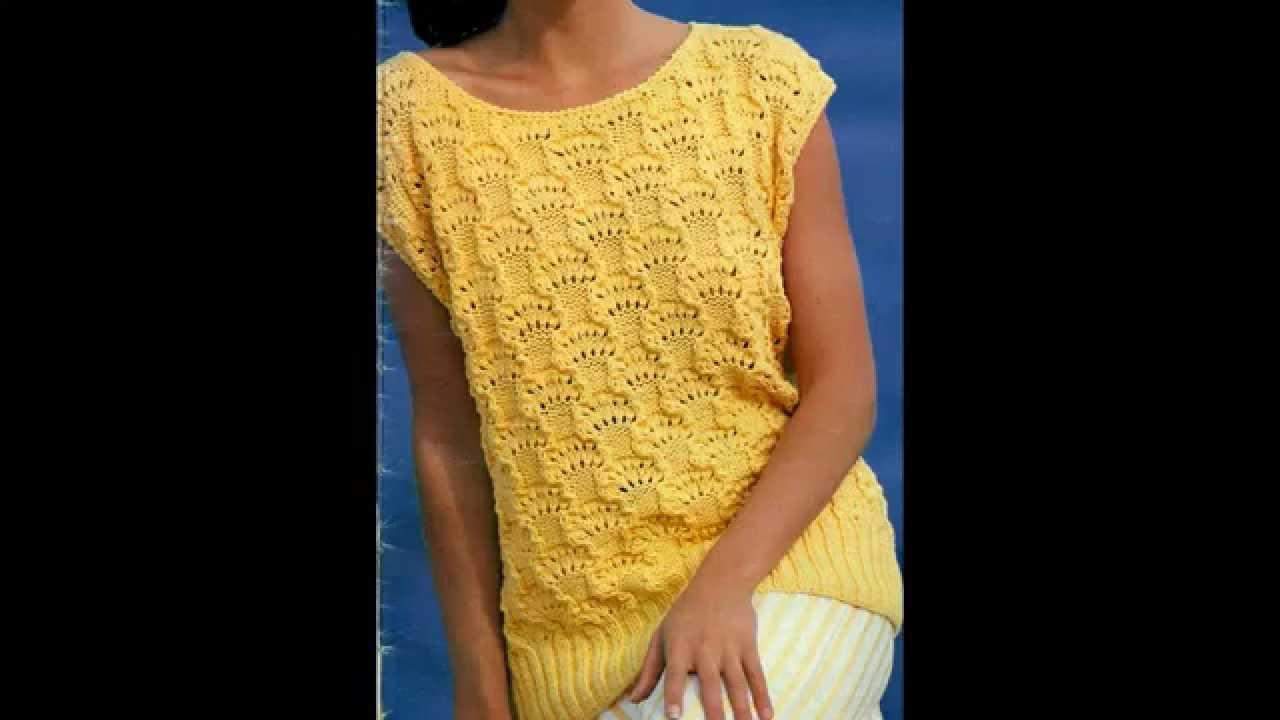 Patrón para tejer blusa larga a 2 agujas y terminación ganchillo ...