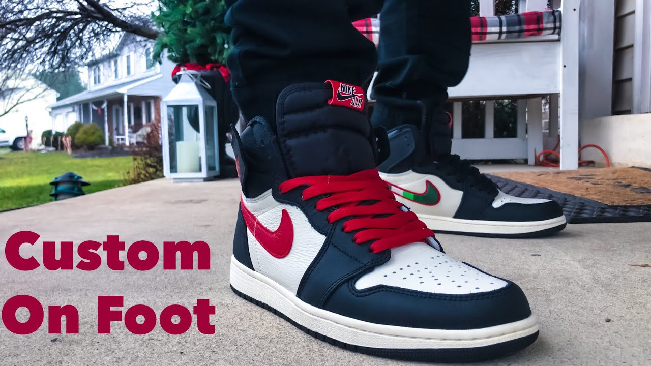 237cbd1459c ON FOOT - RED SWOOSH Air Jordan 1