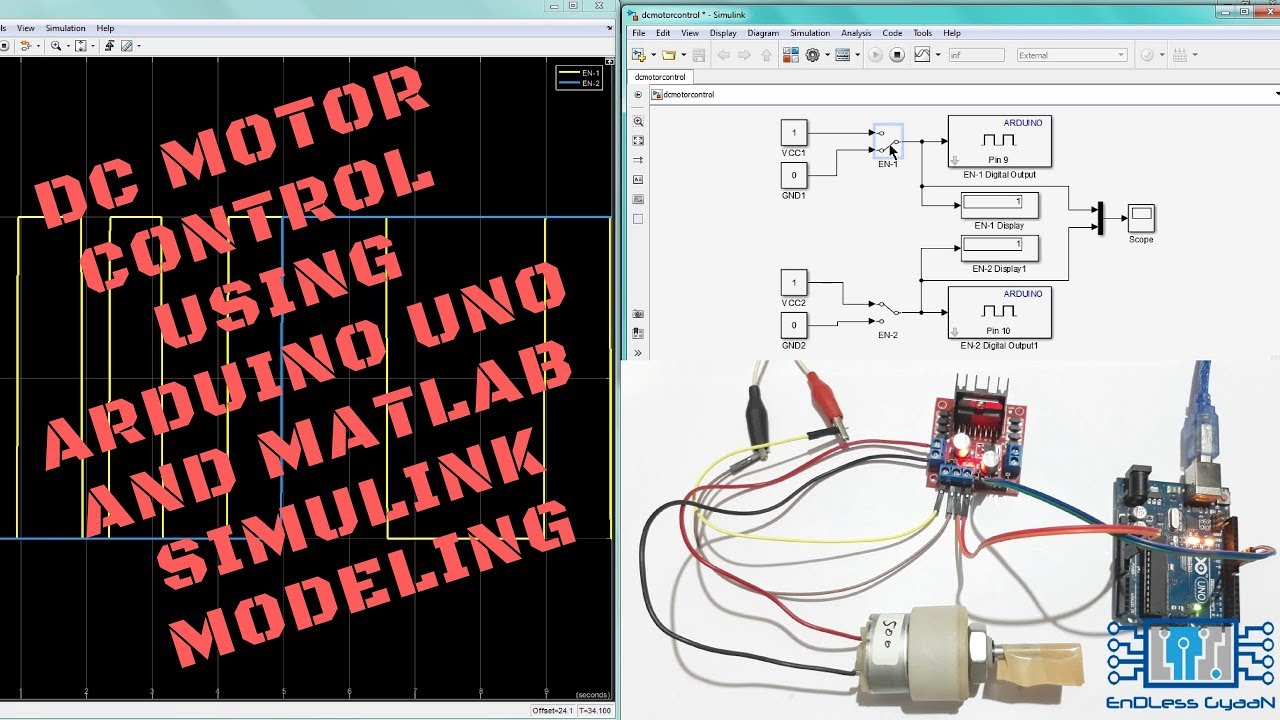tutorial 6 dc motor control using arduino uno and matlab simulink modeling [ 1280 x 720 Pixel ]