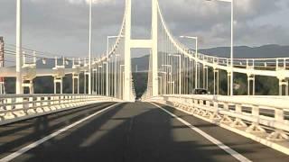 白鳥大橋走行中の正面展望風景(祝津→陣屋)