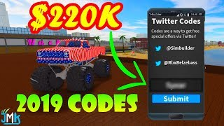 Roblox Vehicle Simulator MONEY CODES 2019 | All working codes *NEW*