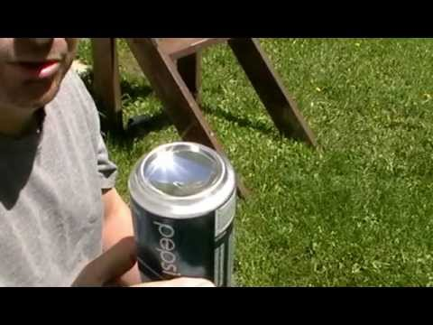 HOW TO START A FIRE WITH A SODA CAN !