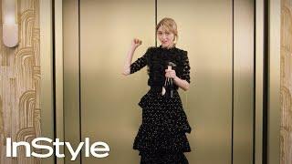 Natalia Dyer | 2018 Golden Globes Elevator | InStyle