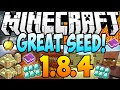 ✔ Minecraft 1.8.4 Seeds - 34 DIAMONDS, 3 VILLAGES, 2 DUNGEONS, 4 TEMPLES, STRONGHOLD! (1.8 Seed)