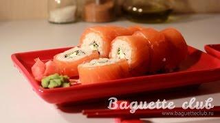 """Роллы """"Филадельфия"""" (суши)(Несколько интересных фактов о японской кухне, а также как приготовить вкуснейшие роллы Филадельфия, расска..., 2015-01-14T17:38:41.000Z)"""