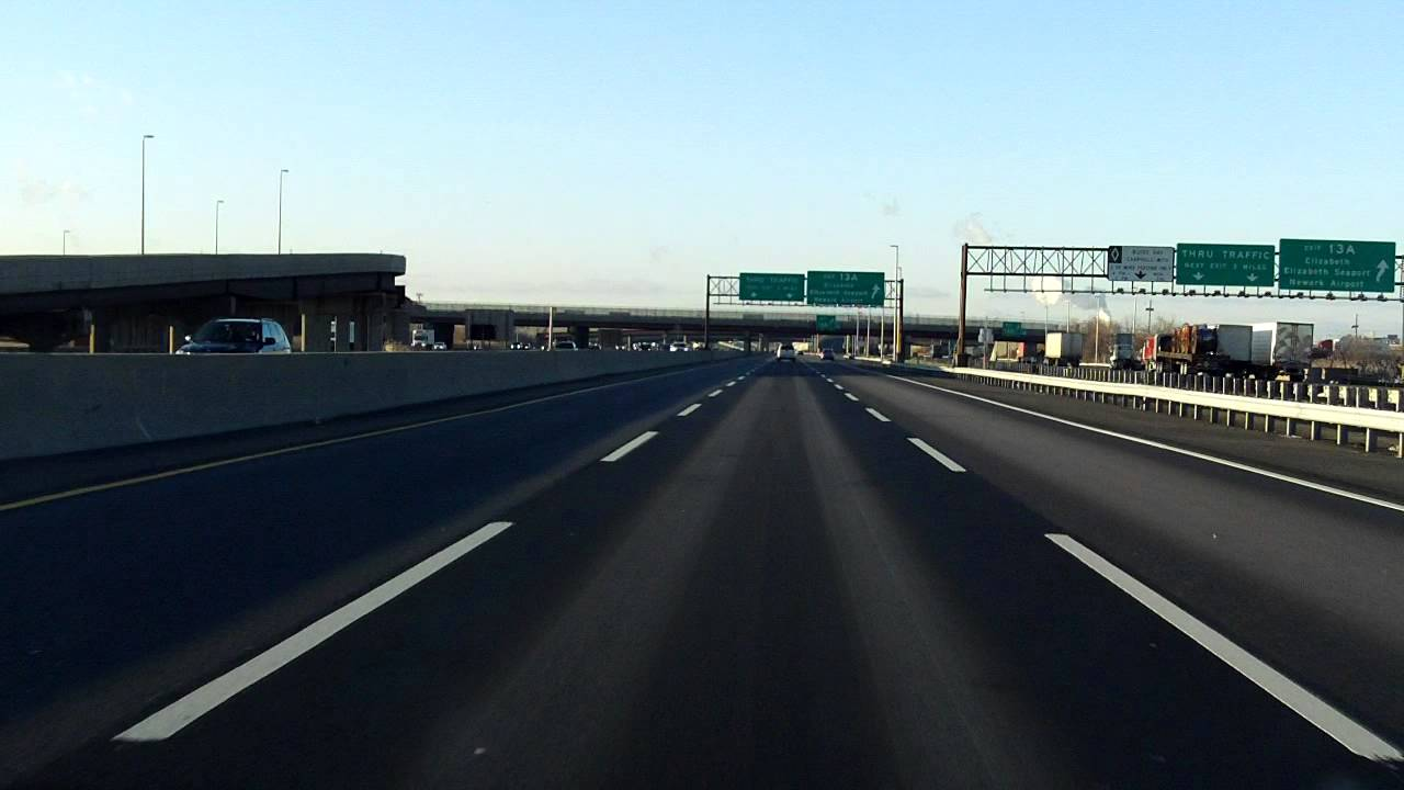 New Jersey Turnpike (Exits 14 to 13) southbound (Car Lanes) - YouTube