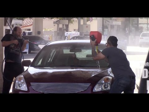 Washing People's Cars With Gasoline Prank!!!