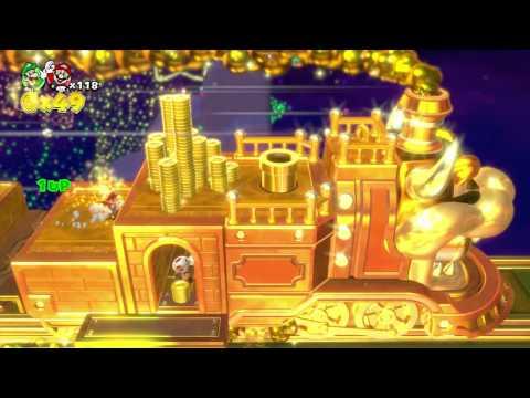 "Let's Play: Super Mario 3D World - 5-B - ""Fire Bros. Hideout #2"" + GOLD BONUS TRAIN!"
