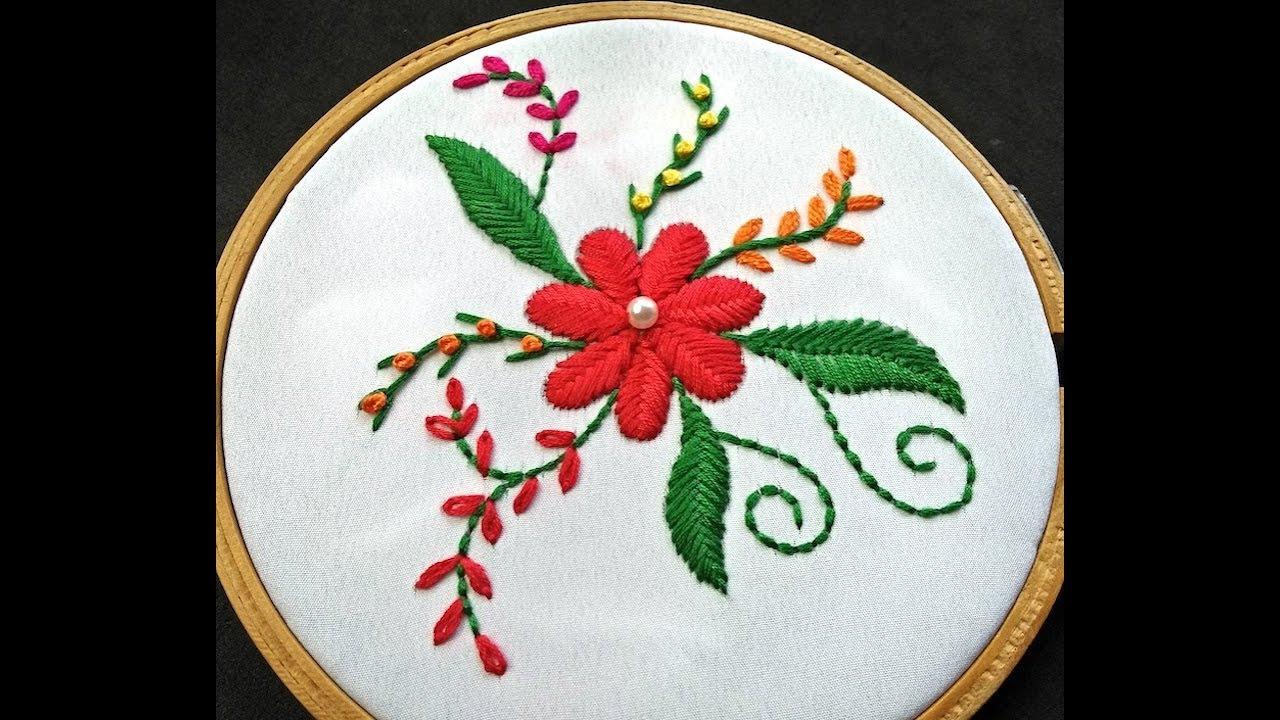 Hand Embroidery Design   Raised Fishbone Stitch Embroidery   Raised  Fishbone Stitch Variation