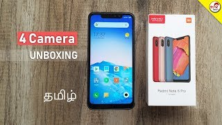 Redmi Note 6 Pro Unboxing & Hand-On Review | 4 Camera | 4000mAh | Tamil Tech