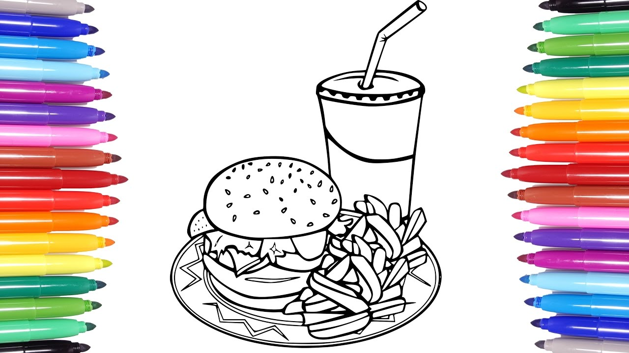 Food Coloring Pages | Hamburger French Fries Coca Cola Coloring ...