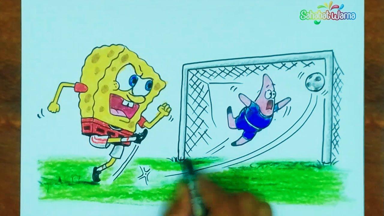 Spongebob Dan Patrick Main Bola Cara Menggambar Dan Mewarnai