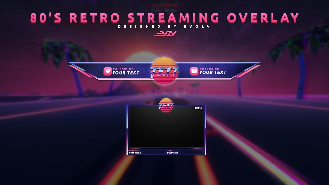 80 s retro streaming overlay template youtube