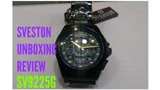 Sveston SV9225G sports chronograph watch Black stainless steel