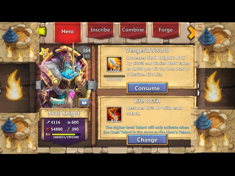 Castle Clash Skull Knight 8/8 Life Drain Gameplay