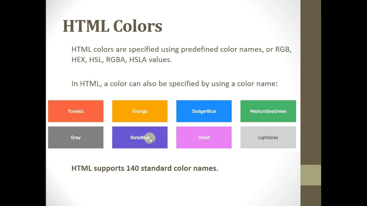 HTML text color background color border color and comments ...