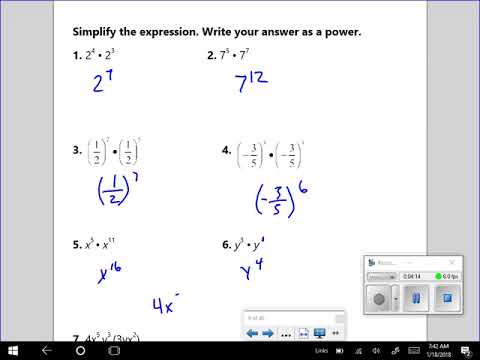 Algebra and Math 8: Product of a Power