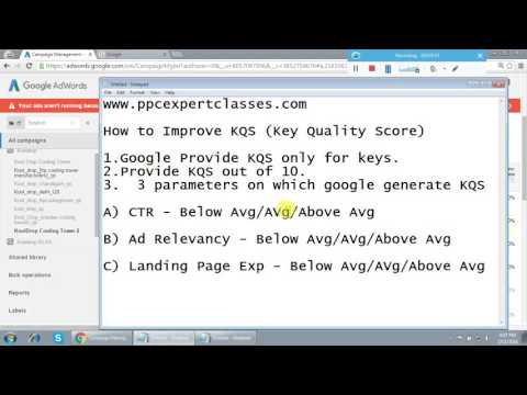 How to improve Adwords Keyword Quality Score Tutorial