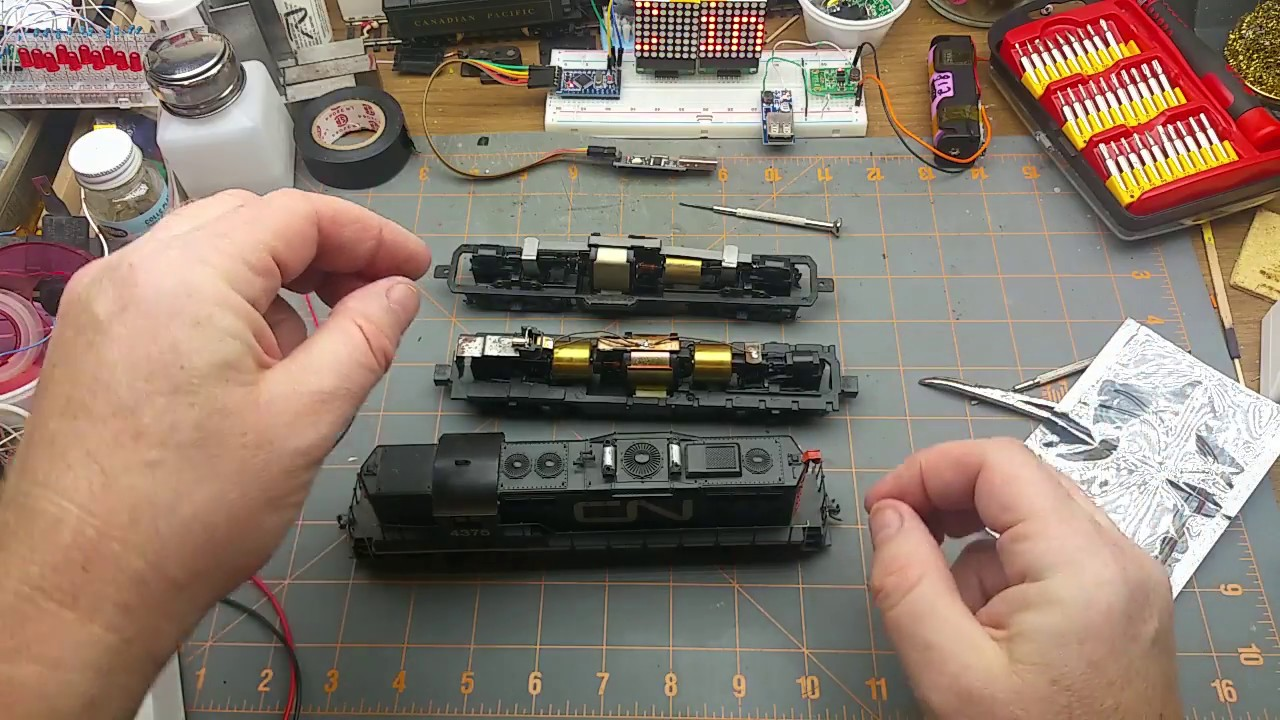 DCC decoder install in an Athearn locomotive on