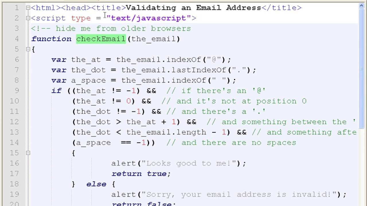 Javascript bangla tutorialch11 how to validate form e mail javascript bangla tutorialch11 how to validate form e mail address validation part 4 baditri Gallery