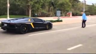Дебил бросает камни в Lamborghini Aventador