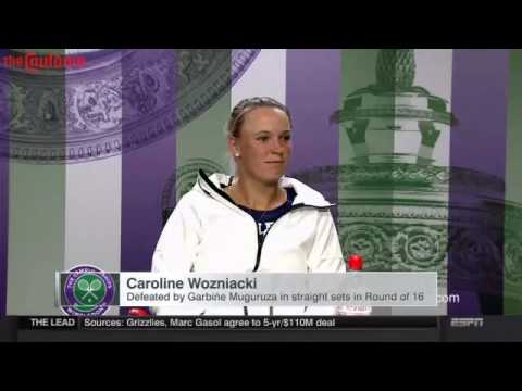 Caroline Wozniacki is asked about Rory McIlroy's ankle injury after Wimbledon loss
