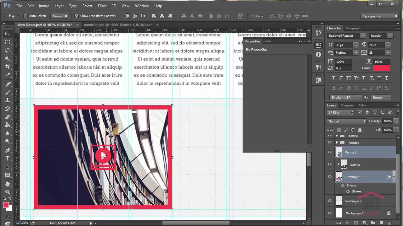 Cara Membuat Desain Web Di Photoshop : Part 7 Membuat Big Feature