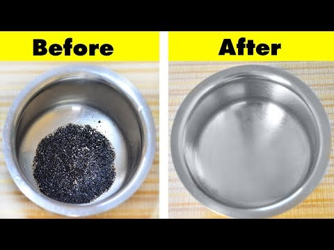 How to Clean Burnt Vessel Easily - Useful Kitchen Tip - Easiest Way to Clean a Burnt Pan or Pot