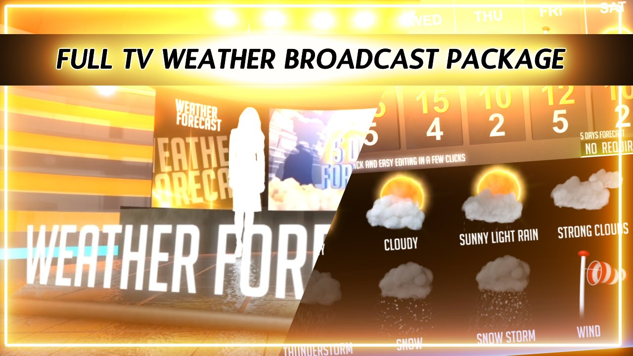 weather forecast broadcast package virtual studio after effects