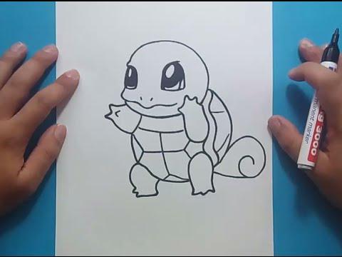 Como dibujar a Squirtle paso a paso  Pokemon  How to draw
