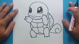 Como dibujar a Squirtle paso a paso - Pokemon   How to draw Squirtle - Pokemon
