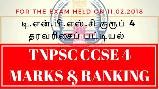 TNPSC CCSE 4 OBTAINED MARKS AND RANK LIST ANNOUNCED - LATEST