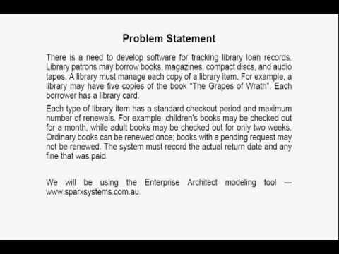 Uml Class Modeling -- 1 -- Problem Statement - Youtube