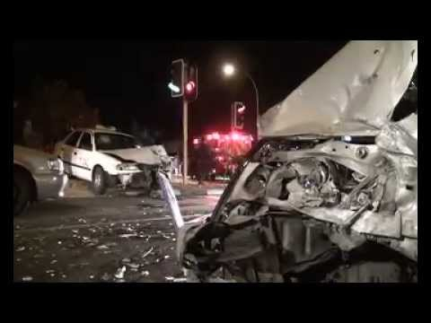 Five people narrowly escaped death in a horrific car accident