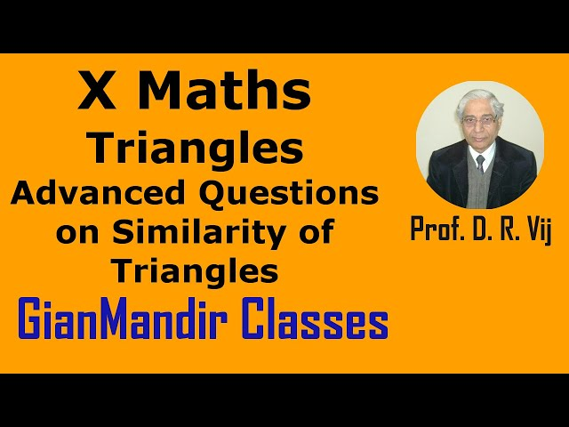 X Maths | Triangles | Advanced Questions on Similarity of Triangles by Preeti Ma'am