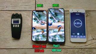Google Pixel 5 vs IPhone 12 mini. Battery drain test!