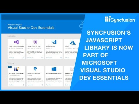 Syncfusion's Javascript Library Is Now Part Of Microsoft Visual Studio Dev Essentials!