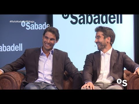 Rafael Nadal and Marc Lopez at the Banco Sabadell event in Malaga, 19 Sept 2017