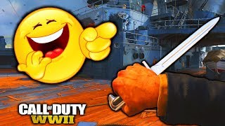 FUNNY KNIFE ONLY REACTIONS & EPIC CROSS MAP THROWING KNIFE!! (COD WW2)