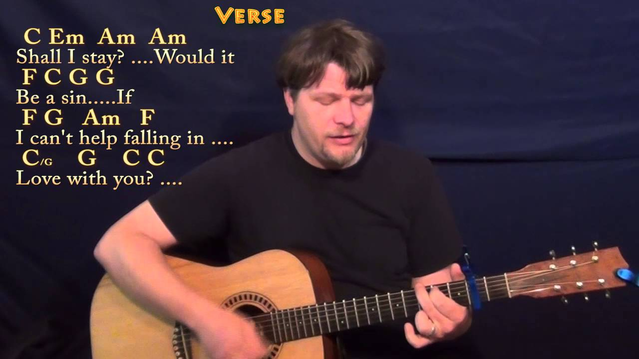 Cant Help Falling In Love Elvis Guitar Cover Lesson With Chords