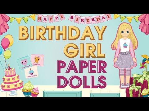 Paper Dolls   Birthday Girl Dolls & Accessories DIY Crafts