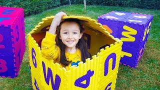 ÖYKÜ and DAD Play Hide and Seek, with colorful Magic Latter boxes, fun kid video Oyuncak Avı