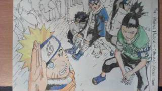 How to draw Naruto, Shikamaru, Neji, Choji, Kiba and Akamaru (Sasuke