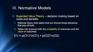 Cognition Lecture 8 6 Choice Models and Normative Decision Making