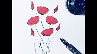 how to draw poppies - flowers - for beginners