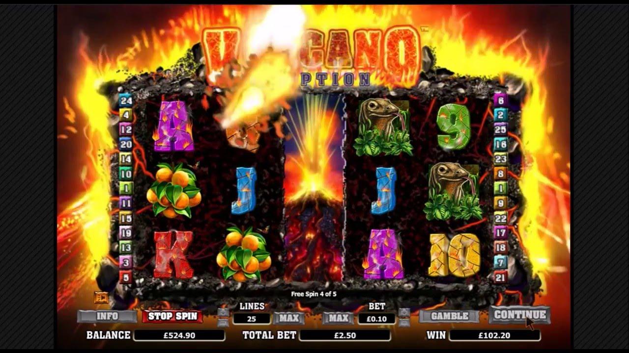 Volcano Eruption - Big online slot win. Bonus feature