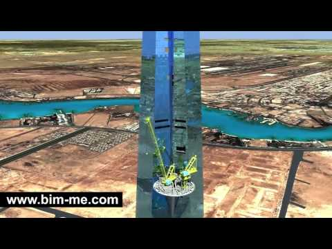 Construction Simulation Crane Kingdom Tower Jeddah